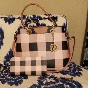 Handbags - Plaid Mia K Farrow purse and wallet
